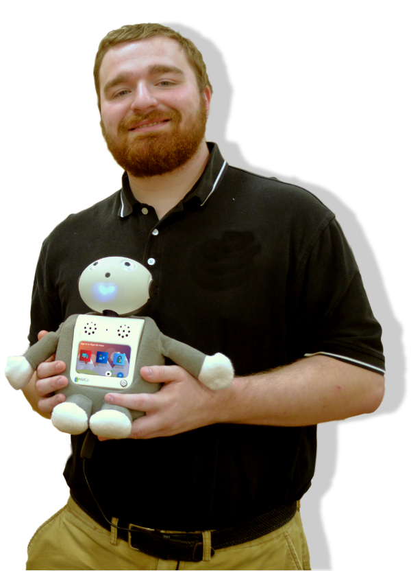 Young man holding a robot therapist